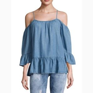 NWT Beach Lunch Lounge off shoulder top. Blue